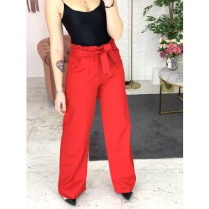 Jeans rosso a palazzo
